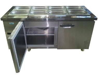 Mesón Refrigerado 8 Depósitos 2 Puertas de Metal 148 cms. 380 lts.