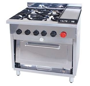 Cocina Industrial 4 Quemadores Con Horno Y Plancha Tmq Maquinarias