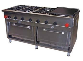Cocina Industrial 6 Quemadores con 2 Hornos y Plancha